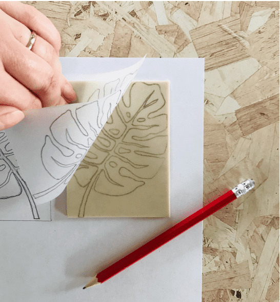 image of monstera leaf drawn on a piece of SoftCut