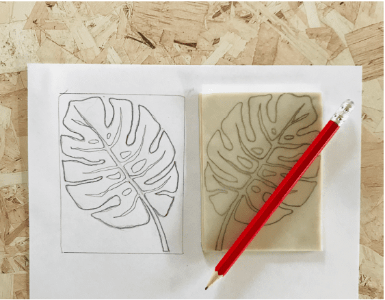 picture of monstera leaf drawn on a piece of SoftCut