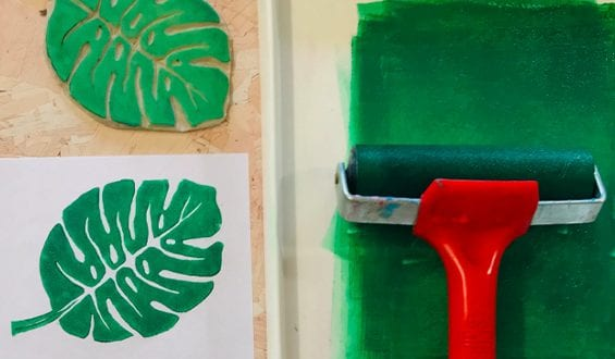 How to Make a Monstera Leaf Lino Stamp