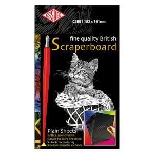 Essdee BLACK Scraperboard 152 x 101mm Pack of 5 sheets