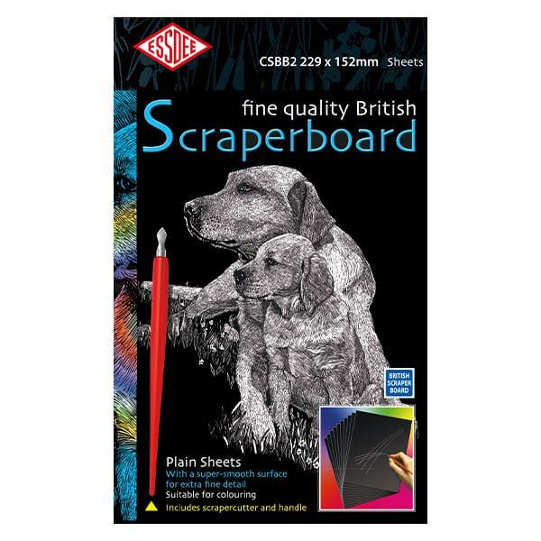 Essdee BLACK Scraperboard 229 x 152mm Pack of 5 sheets