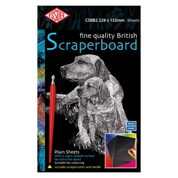 Essdee BLACK Scraperboard 229 x 152mm Pack of 10 sheets