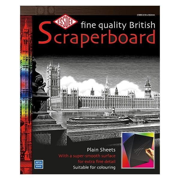 Essdee BLACK Sccraperboard 610 x 502mm pack of 5