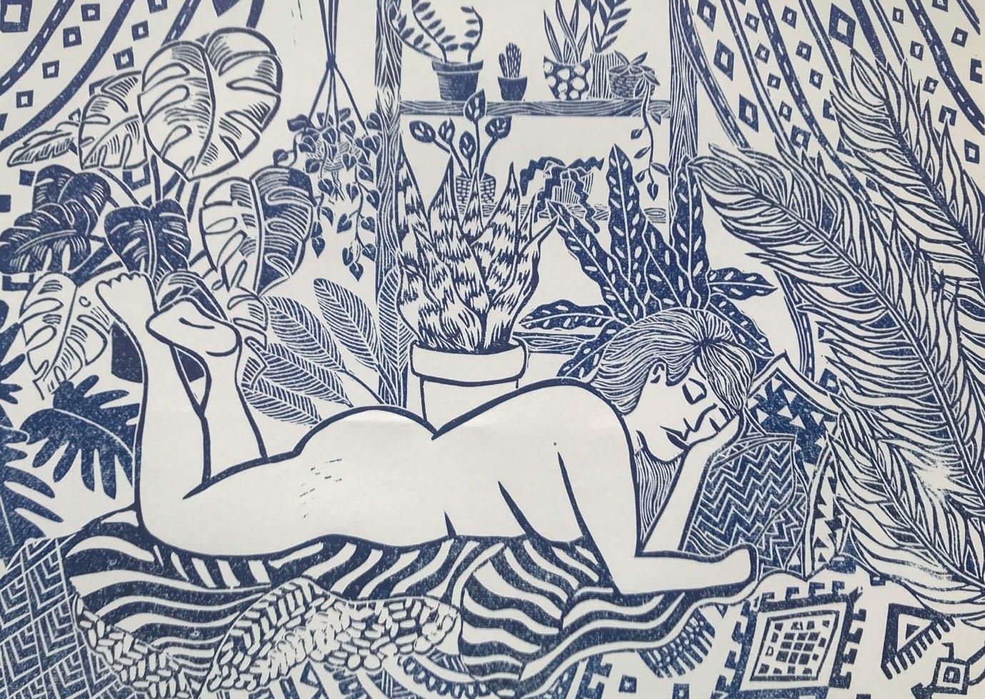 Lino print of naked lady lying amongst plants